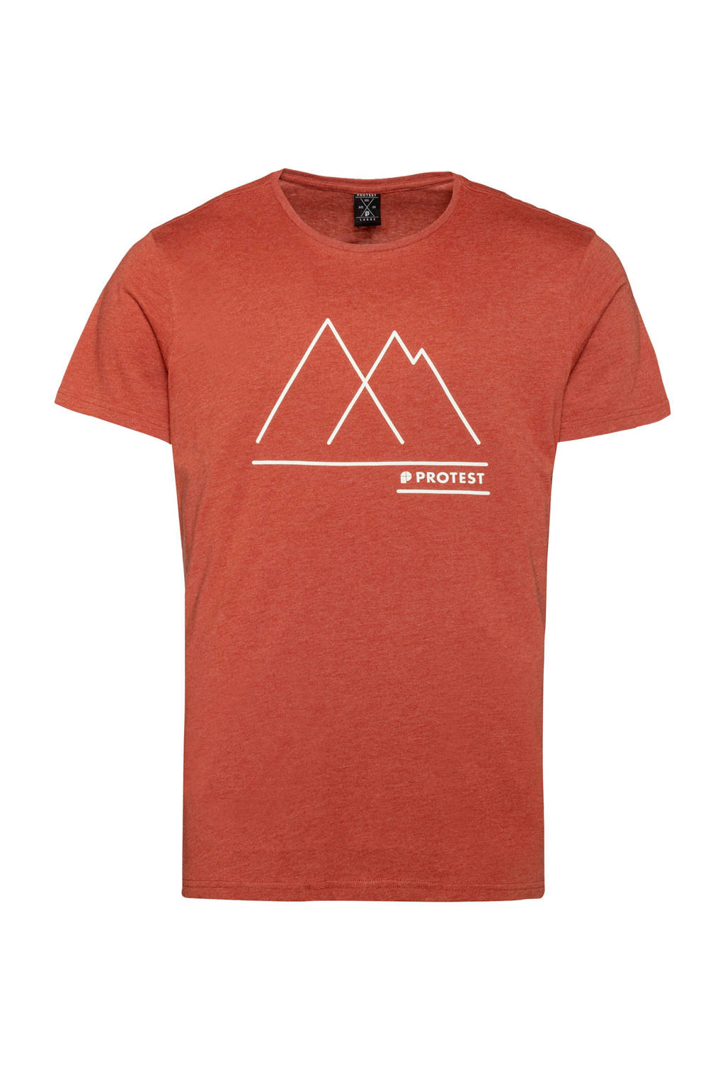 Protest T-shirt Bosham met printopdruk brique, Cinnamon