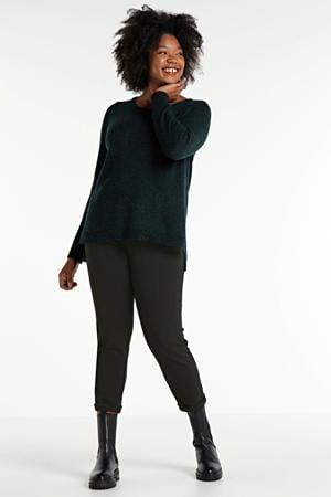 gemêleerde gebreide trui Sys met wol donkergroen