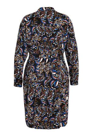 blousejurk met all over print en ceintuur blauw/multi
