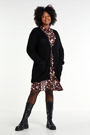 gebreid vest Amalias met jacquard zwart