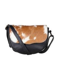 Cowboysbag   leren crossbody tas Lina zwart, Zwart/bruin/wit