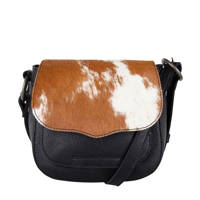 Cowboysbag   leren crossbody tas Kearney zwart, Zwart/bruin/wit