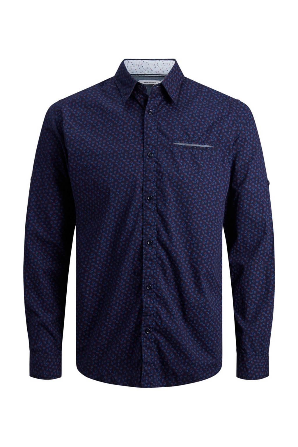 JACK & JONES regular fit overhemd Matthew met all over print marine, Donkerblauw