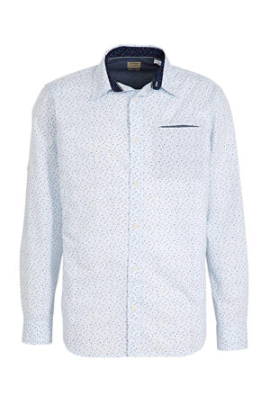 regular fit overhemd met all over print lichtblauw/blauw