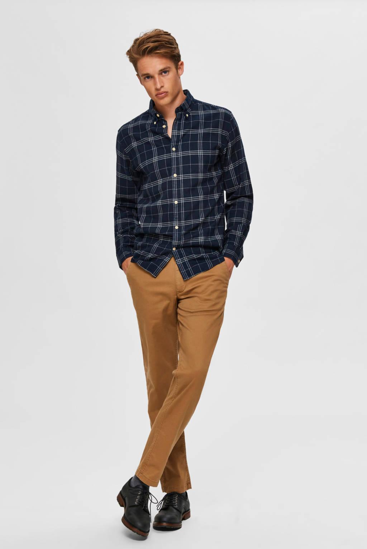 SELECTED HOMME geruit slim fit overhemd donkerblauw/grijs, Donkerblauw/grijs