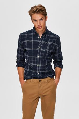 geruit slim fit overhemd donkerblauw/grijs
