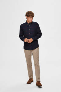 SELECTED HOMME geruit slim fit overhemd donkerblauw/donkerrood, Donkerblauw/donkerrood