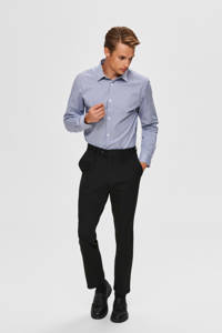 SELECTED HOMME geruit slim fit overhemd donkerblauw, Donkerblauw