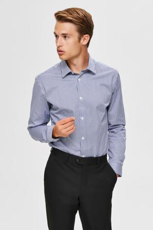 geruit slim fit overhemd donkerblauw