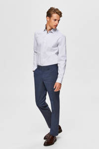 SELECTED HOMME slim fit overhemd wit/donkerblauw, Wit/donkerblauw