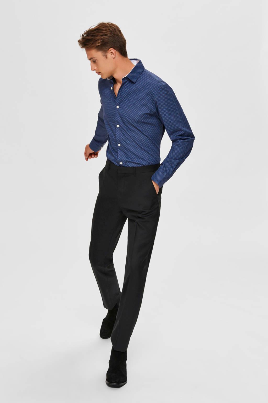 SELECTED HOMME slim fit overhemd marineblauw, Marineblauw