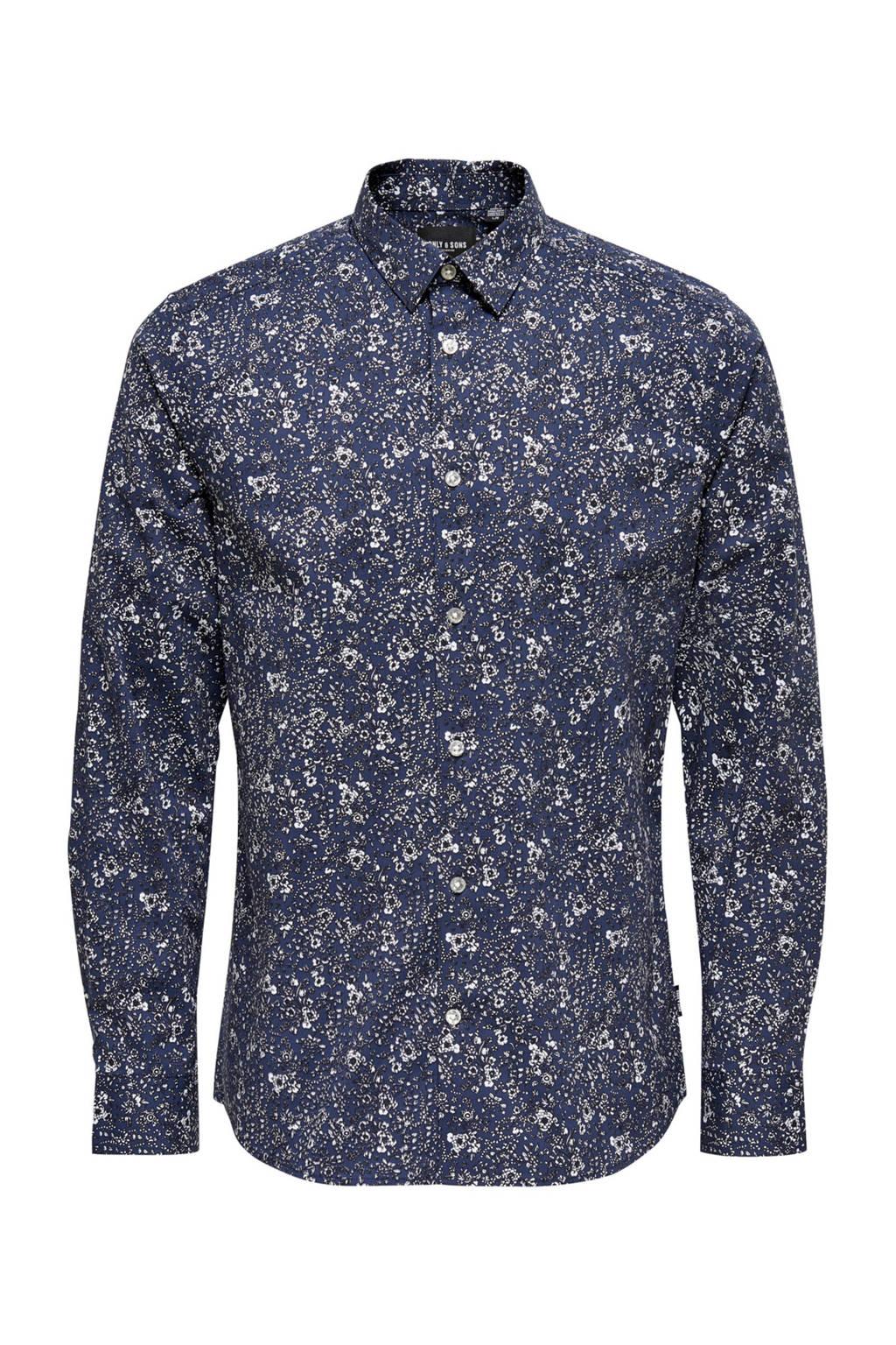 ONLY & SONS gebloemd slim fit overhemd met biologisch katoen donkerblauw, Donkerblauw