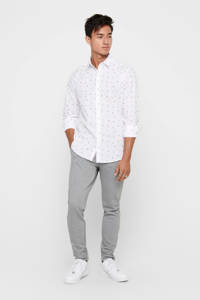 ONLY & SONS slim fit overhemd met all over print wit, Wit