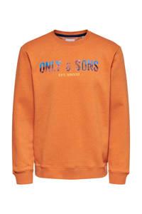 ONLY & SONS sweater met biologisch katoen oranje, Oranje