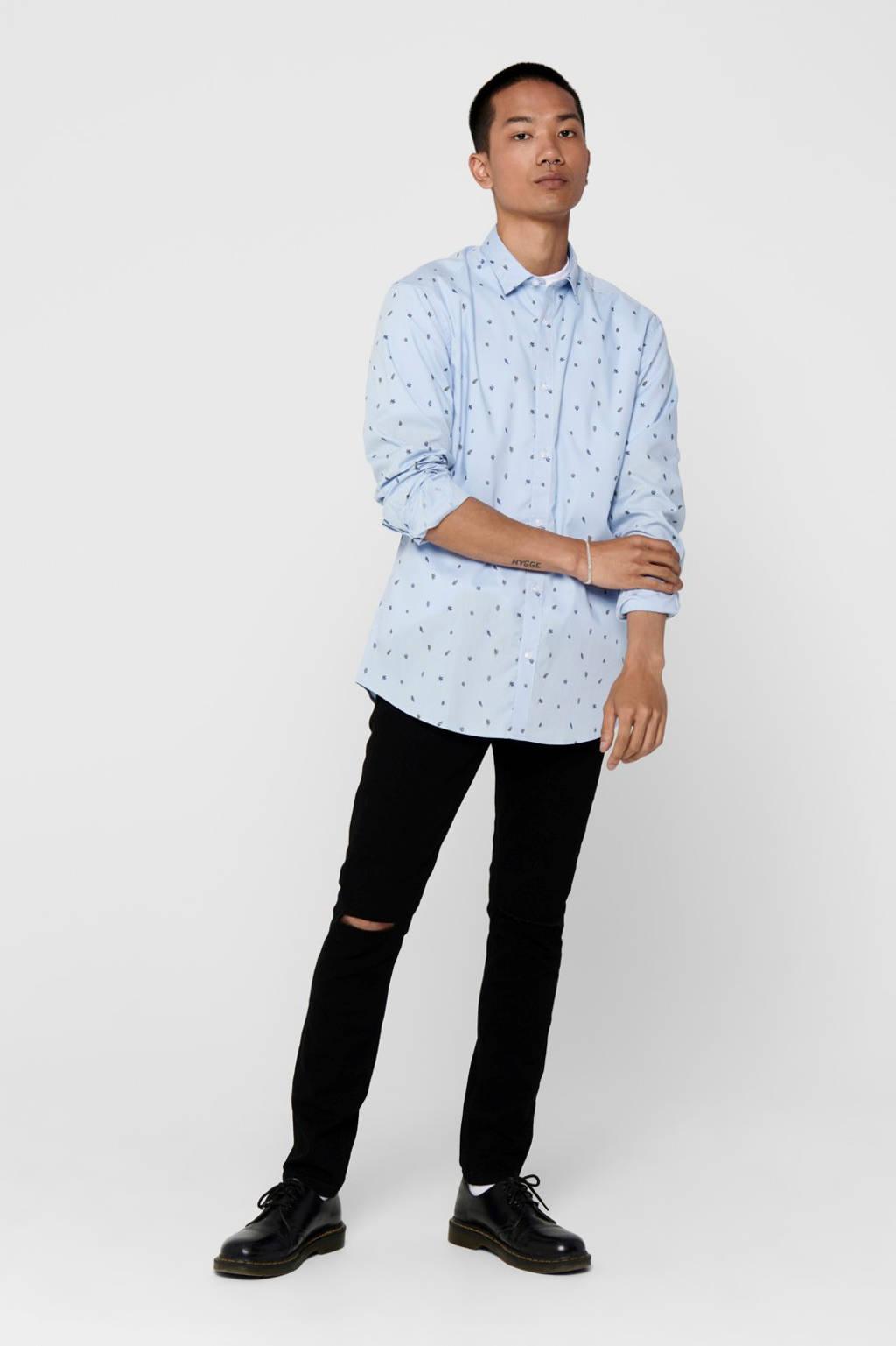 ONLY & SONS slim fit overhemd met all over print lichtblauw, Lichtblauw