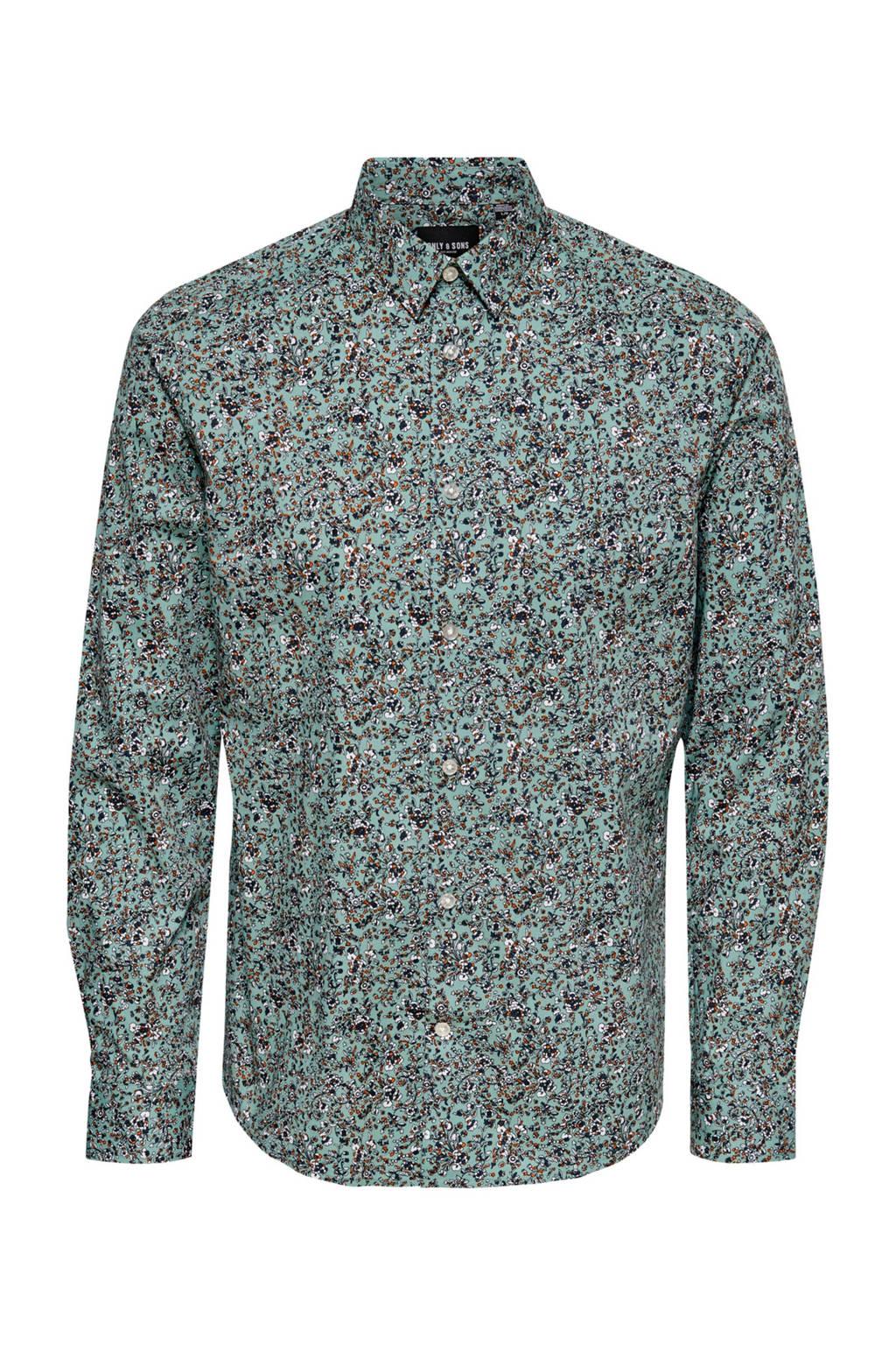 ONLY & SONS gebloemd slim fit overhemd met biologisch katoen mintgroen, Mintgroen