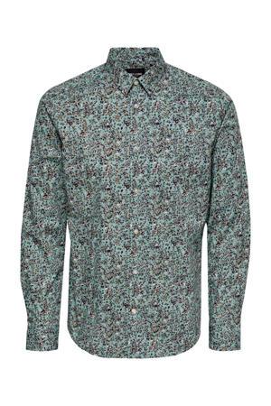 gebloemd slim fit overhemd met biologisch katoen mintgroen