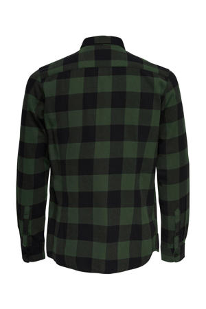 geruit slim fit overhemd groen