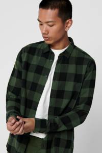 ONLY & SONS geruit slim fit overhemd groen, Groen
