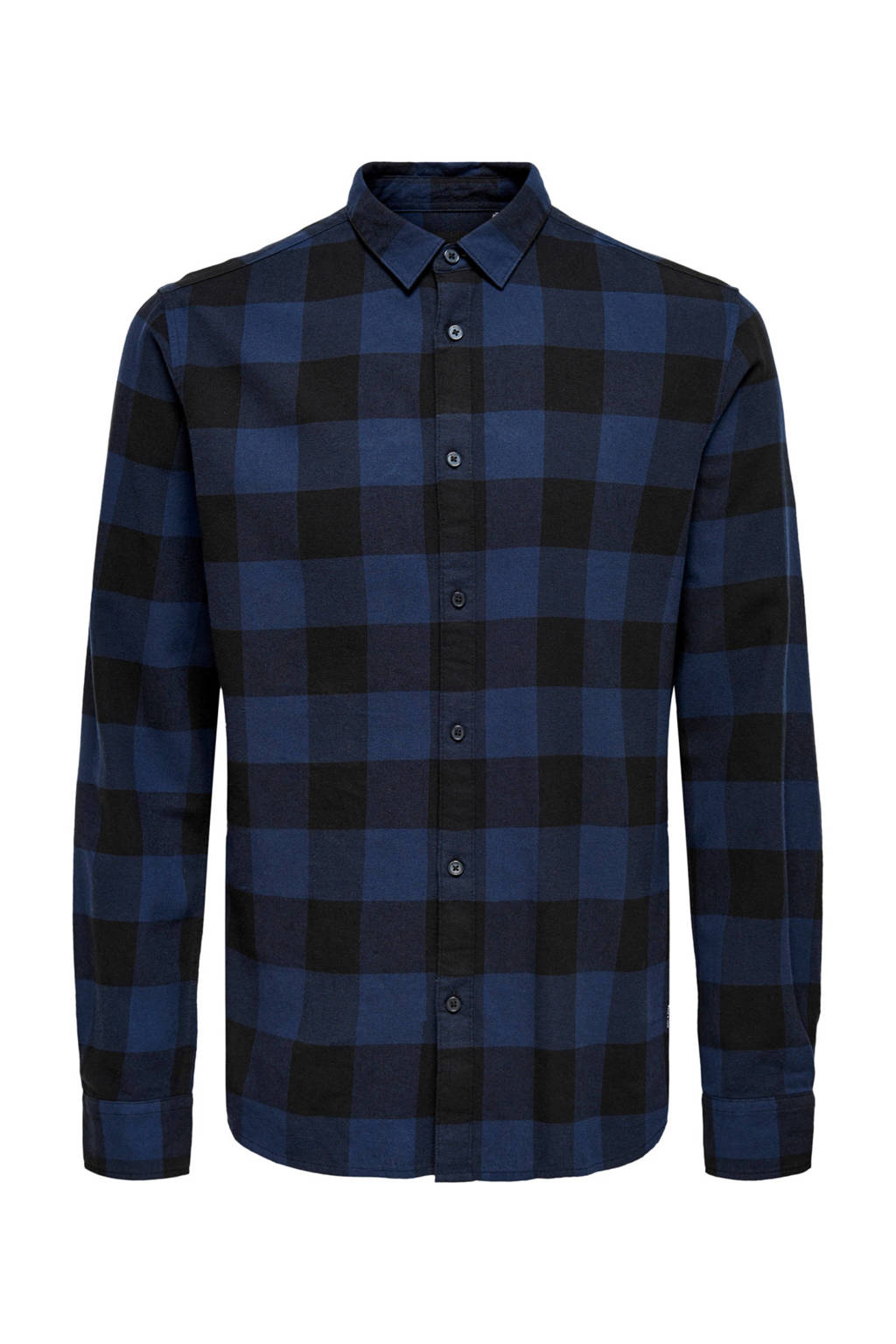 ONLY & SONS geruit slim fit overhemd kobaltblauw, Kobaltblauw