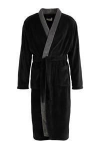 ten Cate fleece badjas zwart/antraciet, Zwart/antraciet