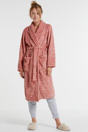 fleece badjas met zebraprint roze