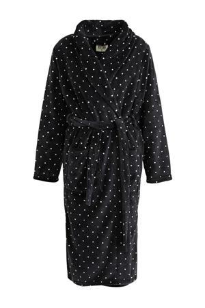 fleece badjas met stippen zwart