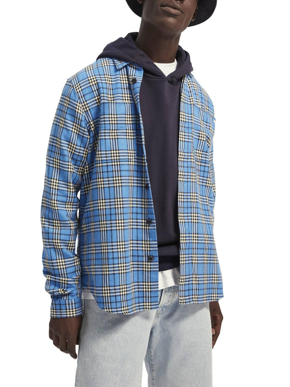Scotch & Soda geruit regular fit overhemd blauw, Blauw