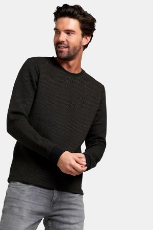 sweater Archie met all over print camel/zwart