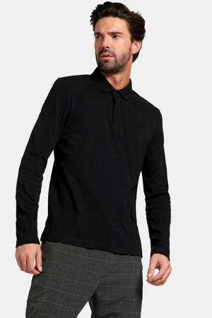 regular fit polo Edmund met textuur zwart