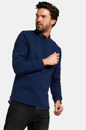 sweater Archie met all over print blauw