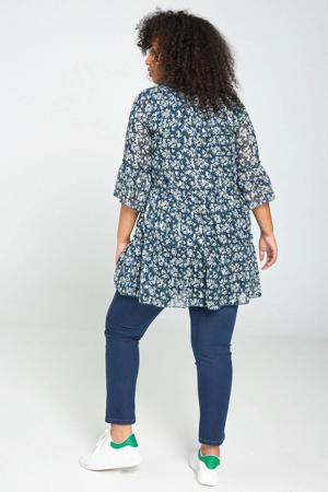 jurk met all over print en volant donkergroen