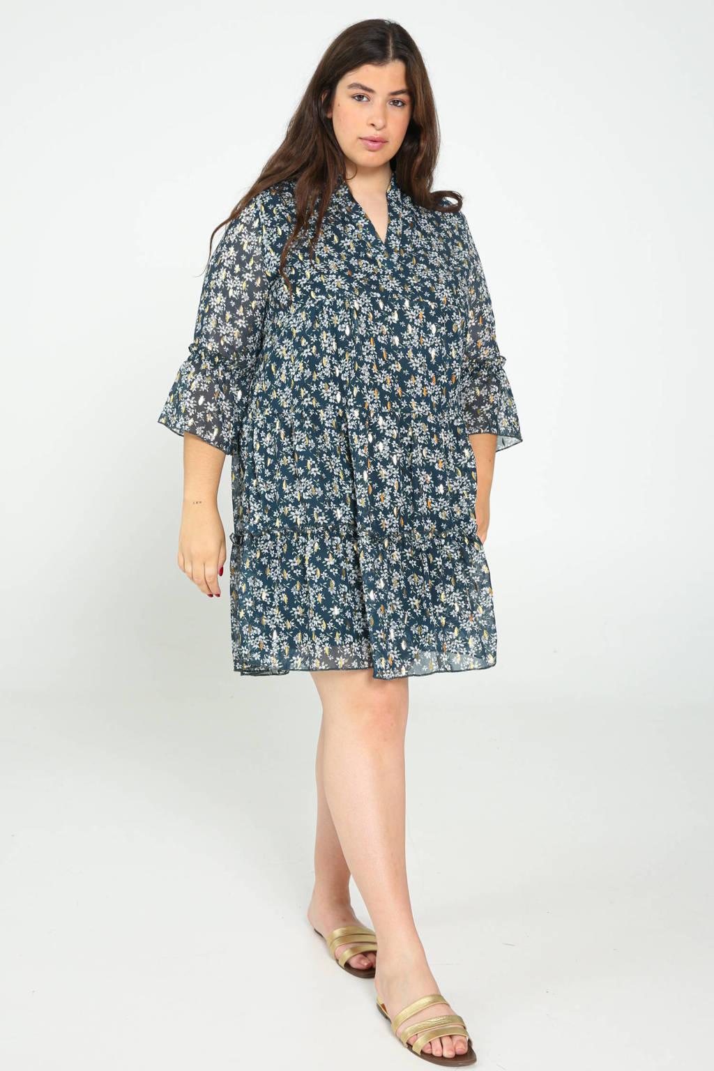 Paprika jurk met all over print en volant donkergroen, Donkergroen