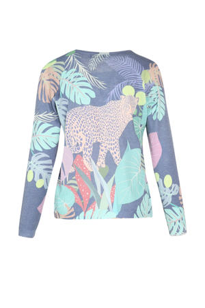 fijngebreide trui met all over print paars/lichtblauw/geel