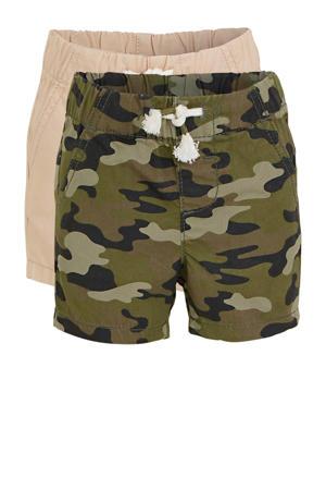short met camouflageprint - set van 2 groen/beige