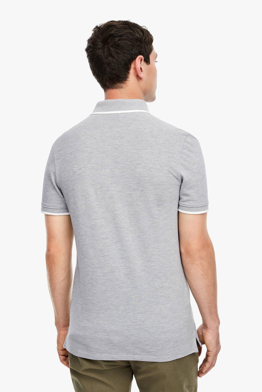 Q/S designed by gemêleerde slim fit polo grijs melange, Grijs melange