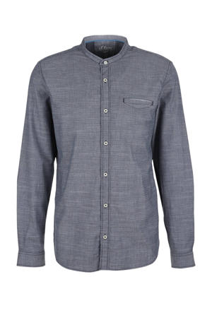gemêleerd regular fit overhemd grijsblauw