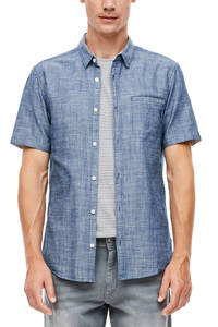 Q/S designed by geruit regular fit overhemd donkerblauw, Donkerblauw
