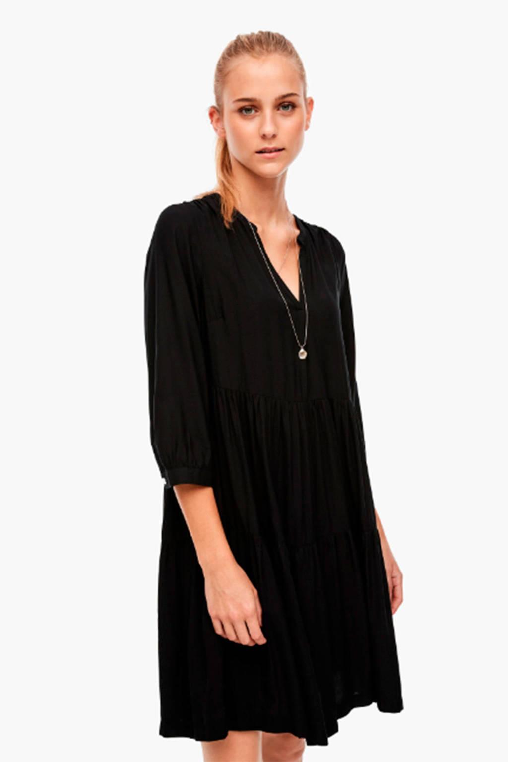 Q/S designed by jurk met plooien zwart, Zwart