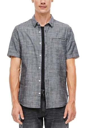 gemêleerd regular fit overhemd antraciet