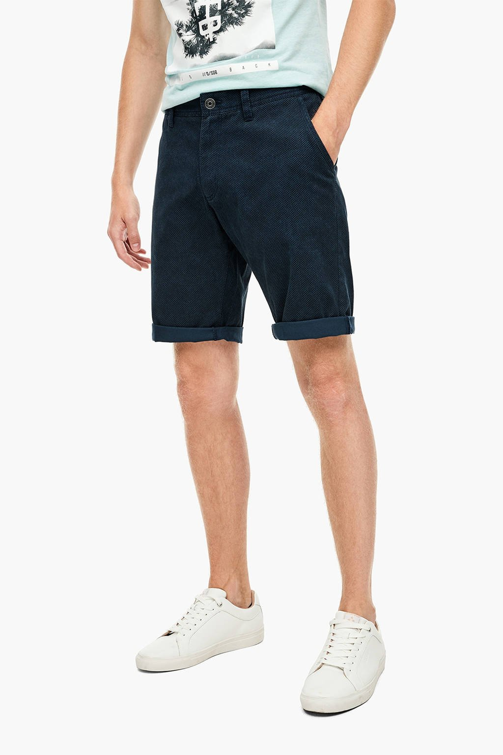 Q/S designed by regular fit bermuda blauw, Blauw