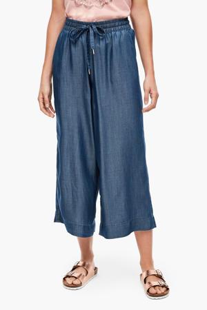 cropped high waist loose fit broek blauw
