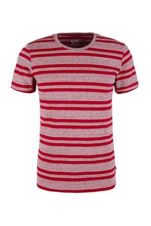gestreept T-shirt rood/roze