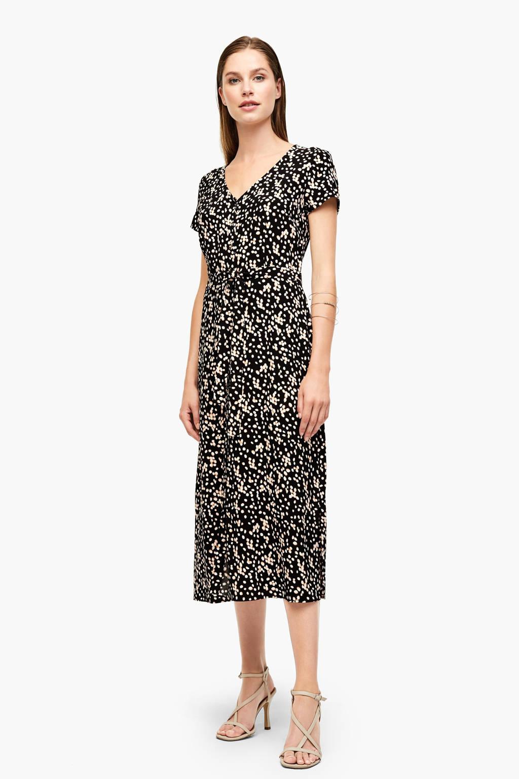 s.Oliver BLACK LABEL jurk met all over print zwart/multi, Zwart/multi