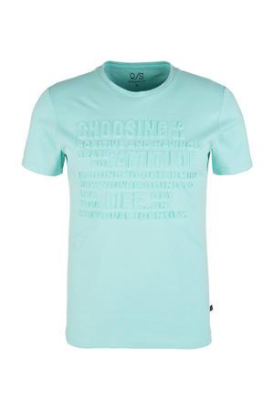 T-shirt met printopdruk turqoise