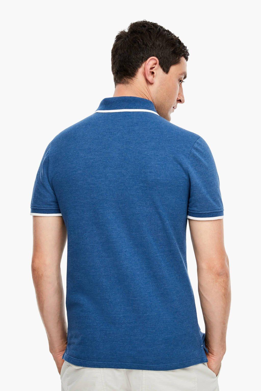 Q/S designed by slim fit polo blauw, Blauw