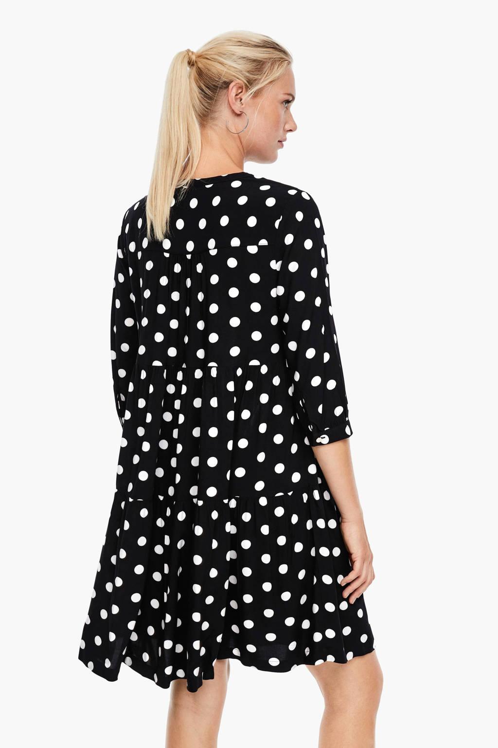 Q/S designed by jurk met stippen zwart, Zwart