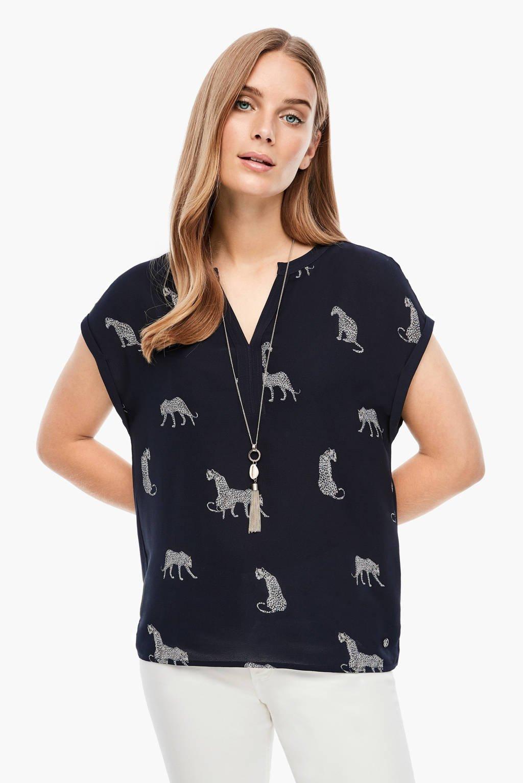 s.Oliver T-shirt met dierenprint marine, Marine