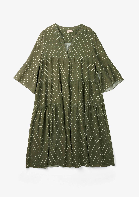 TRIANGLE A-lijn jurk met stippen donkergroen, Donkergroen
