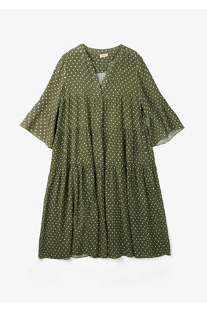 A-lijn jurk met stippen donkergroen